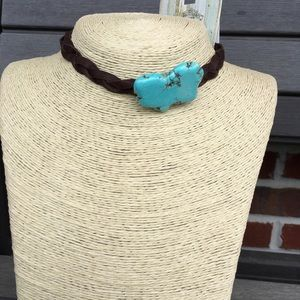 Jewelry - Jewelry Junkie Leather Choker Necklace Turquoise